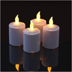 """Set of 6 Long Life Pearl-White Finish Flickering Amber LED Votives With Electronic Timers; """"They Stay Lit For 4 Months on One Set of Batteries! Party Lights, Tea Lights, Amber Led Lights, Apartment Lighting, Seasonal Celebration, Novelty Lighting, Pumpkin Colors, Unique Lighting, Lighting Ideas"""