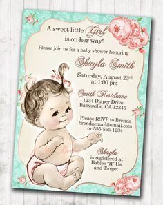 Shabby Chic Floral Vintage Baby Shower Invitation For Girl   Roses Mint And  Coral   DIY Printable