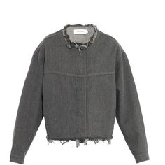 MARQUES'ALMEIDA Frayed-edge oversized denim jacket ($400) ❤ liked on Polyvore featuring outerwear, jackets, oversized jean jacket, gray jean jacket, evening jacket, jean jacket and denim jacket