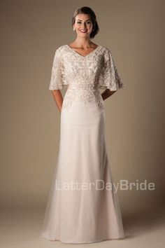 'Primrose' bridal gown, modest gown, beaded bridal gown,