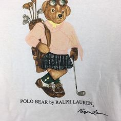 Vintage Polo Bear by Ralph Lauren Hooo White colour M size Bear Illustration, Ralph Lauren Collection, Couture, Arms, Polo Ralph Lauren, Teddy Bear, African, Cartoon, My Style