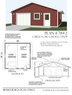 Garage With Shop Plan 784-2 By Behm Design Garage plans with workshop space.