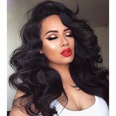 Remeehi Loose Body Wave Full Lace Wig Indian remy hair 14 Inches 1# Jet Black
