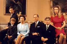 Mirror-November 1972: The Royal Family At In Buckingham Palace, London (L-R) The Prince Of Wales, Prince Edward, Her Majesty The Queen, The Duke Of Edinburgh, Prince Andrew And Princess Anne.  Photo-PA