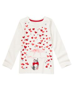 It's raining love! Sweet tee features a cute dog under an umbrella and lots of sparkly hearts.
