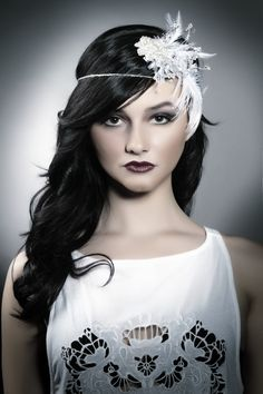 Hair and Make up by Heather Young at John Roberts Spa -bridal long, down with curls, fascinator, dark lip