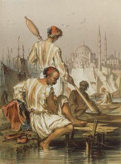 Stamboul. Bateliers Estampe. Preziosi, graveur Extrait de Souvenirs d'Orient, 1857, pl. 006  © BNF, département des Estampes et de la Photographie, RC-A-44721