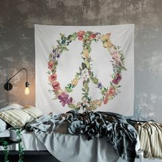 Peace Sign Tapestry Floral Wreath Mandala Tapestry Wall Hanging Meditation Yoga Grunge Hippie #BohemianTapestry #PeaceSign #MandalaFloral #HippyWallHanging #FloralWallHanging #PeaceTapestry #HippyTapestry #FlowerMandala #FlowersMandala #MandalaWallArt