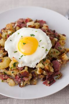 NYT Cooking: Pastrami hash with confit potatoes, parsley, and shallots