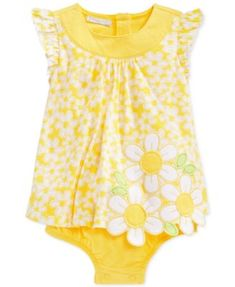 First Impressions Baby Girls' Yellow Daisy Sunsuit, Only at Macy's