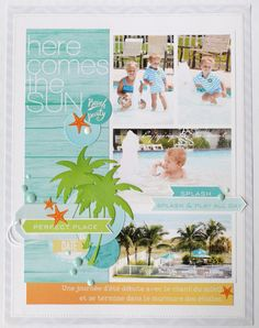 """Layout: """"Here comes the sun"""" - This fabulous design fits 4 photos on an 8.5 x 11 page! Brilliant!"""