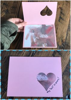 A spin off a Pinterest card with crayon. My 18 month toddler didn't have the attention span to colour so we painted with water colour, cut the pages into 4 and glued them into a Valentine's Day homemade card. Hole punch heart stamp from the dollar store (dollarama) great handmade gift for grandparents made by baby.