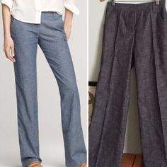 """$ale New J Crew Chambray Pants 4 Never worn, Chambray straight leg trousers ( but does look a bit wide when on) from J Crew, polished look, I believe this to be their Favorite Fit.  Approximate measurements, laying flat: rise is 10.25"""", inseam is 32"""" (easy to hem) J. Crew Pants Straight Leg"""