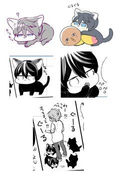 Some more cat Haru ...  Drawn by uto00rog ... Free! - Iwatobi Swim Club, haruka nanase, haru nanase, haru, nanase, haruka, makoto tachibana, makoto, tachibana, free!, iwatobi, cat, neko