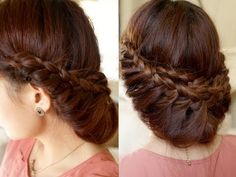 Stunning Braided Updo Style - Princess Braid Updo Hairstyle Video Tutorial - DIY & Crafts