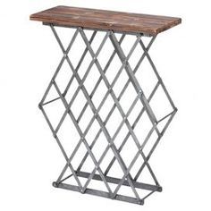 "Distressed metal and wood wine rack.  Product: Wine rackConstruction Material: Metal and woodColor: Silver and brownFeatures: Holds 16 bottles of wineDimensions: 29"" H x 22.5"" W x 9"" D"