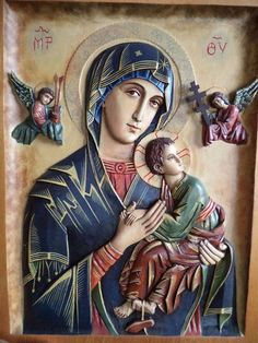 Our Lady of Perpetual Help Blessed Mother Mary, Blessed Virgin Mary, Kind And Generous, Queen Of Heaven, Holy Mary, Orthodox Icons, Religious Art, Religious Images, Our Lady