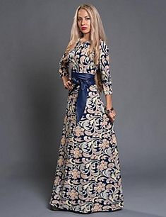 Women s Party Daily Holiday Boho Maxi Sheath Dress - Floral Print Fall Blue  M L XL   Going out   Club fffd5baeda90