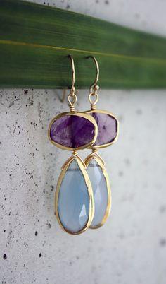 sky blue + amethyst drop earrings