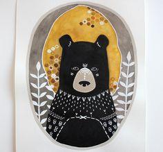 Bear Illustration Painting Animal Watercolor Art by RiverLuna. $40.00, via Etsy.