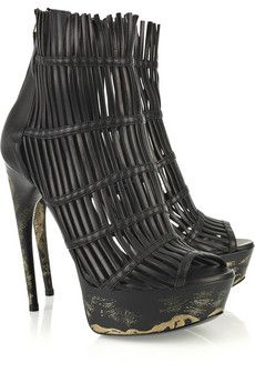 Alexander McQueen Fringed trim Leather Ankle Cage Boots $1,375 Fall 2011 #Shoes #Heels #Booties