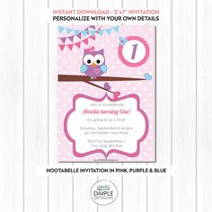 Hootabelle Owl Theme Birthday Party Digital Invitation in Purple, Pink and Blue