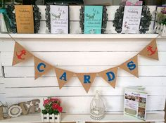 Picture of CARDS Garland Anchors Beach Wedding Bridal Hessian Bunting
