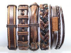 Homemade Bracelets, Hemp Bracelets, Bracelets For Men, Diy Leather Bracelet, Leather Jewelry, Bracelet Set, Leather Gifts, Leather Men, Handmade Leather