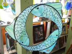 Stained Glass Three Fish Suncatcher van PaneintheGlassGifts op Etsy