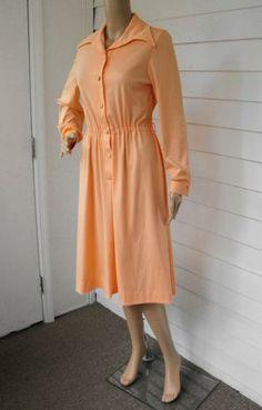 Vintage 70s Peach Secretary Dress Shirtwaist S M by Soulrust for $16.00