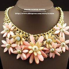 2014 Luxury Pink Natural Shell Crystal Flower Bijouterie Gold Chain False Collar Statement Chunky Choker Necklace