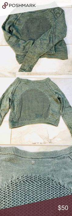 Lululemon cropped sweater Lululemon cropped sweater. Grey/green color. No tag. Size 6. Shoulder to hem measures approximately 19 inches. lululemon athletica Sweaters