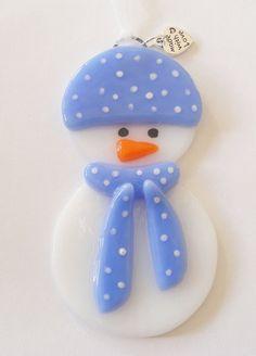 Fused Glass Snowman Ornament Christmas Decoration by Jewlls4u, $10.50