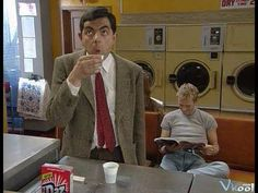 Quick Clip------Mr Bean - Getting back at a bully---Mr Bean is fed up with the bully in the launderette. He exchanges his softener with black coffee to ruin his laundry, but has to drink the softener! From Tee Off Mr Bean. Mr Bin, Camilo Jose Cela, Mr Bean Funny, Johnny English, Photo Star, You Make Me Laugh, British Comedy, All Episodes, Funny Kids