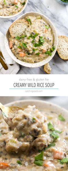 This Creamy Wild Rice Soup recipe is every soup lovers dream! A healthy creamy dairy free broth is filled with hearty wild rice and vegetables. | CatchingSeeds.com