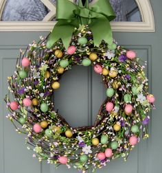 Spring Wreath  Easter Wreath  Easter Egg Wreath by countryprim, $59.00