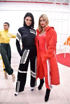 Bombshells: Kendall Jenner (left), 22, sizzled with fellow model Hailey Baldwin (right) at Thursday's Adidas Originals By Danielle Cathari New York Fashion Week presentation