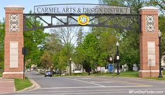 Carmel Arts and Design District sign over Rangeline Road in Carmel, Indiana