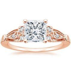 14K Rose Gold Rosabel Diamond Ring, top view