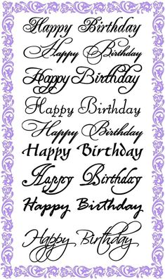 Happy Birthday Calligraphy Set Clear Stamps Sheet / Greetings Wishes Decorative