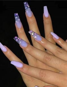 76 Charming Acrylic Nails for Long Nails and Short Nails - The First-Hand Fashion News for Females Purple Acrylic Nails, Long Square Acrylic Nails, Acrylic Nails Coffin Short, Best Acrylic Nails, Purple Nails, Acrylic Nails With Design, Acrylic Nail Designs For Summer, Coffin Nails Designs Summer, Violet Nails