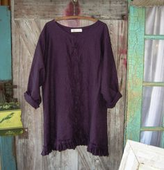 linen dress tunic eggplant purple by linenclothing on Etsy
