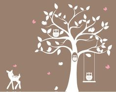 Owl in the hole! babies nursery tree wall decal  tree silhouette by ModernWallDecal, $132.00