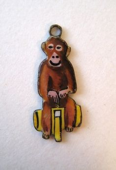 Germany Sterling Enamel Monkey Riding A Bicycle Silver Charm RARE