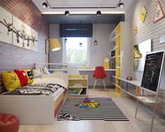 House interior industrial boy rooms 24 ideas for 2019 Industrial Boys Rooms, Kids Bedroom, Bedroom Decor, Master Bedroom, Boys Room Design, Teenage Room, Kids House, Child Room, Home Decor