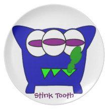 Stink Tooth Monster Kids Dinner Plates