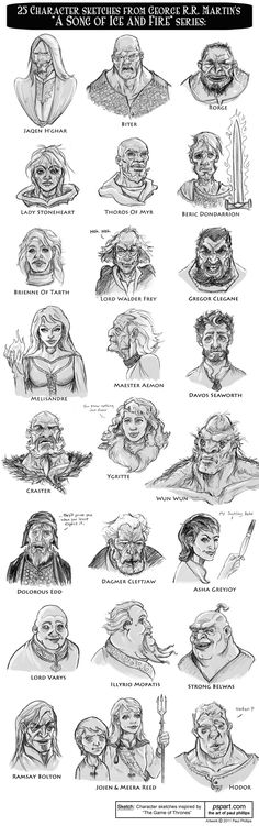 Paul Phillips  - 25 Game of Thrones Character Sketches    (including: Jaqen H'ghar, Biter, Rorge, Lady Stoneheart, Thoros of Myr, Beric Dondarrion, Brienne of Tarth, Lord Walder Frey, Gregor Clegane, Melisandre, Maester Aemon, Davos Seaworth, Craster, Ygritte, Wun Wun, Dolorous Edd, Dagmer Cleftjaw, Asha Greyjoy, Lord Varys, Illyrio Mopatis, Strong Belwas, Ramsay Bolton, Jojen & Meera Reed, Hodor)    http://paulphillips.deviantart.com/gallery/30525158