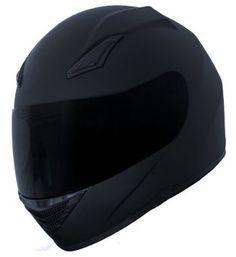 Duke Matte Black Full Face Motorcycle Helmet DK-140 +FREE Tinted Visor