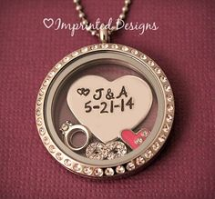 Necklace with wedding date and bride and groom initials, heart n ring charm. Ours would be B & S 9/22/12