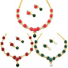 8e5a7f11c3 Beautiful Flower Coral Necklace Sets with Earrings – Dista Cart Indian  Jewelry, Necklace Set,
